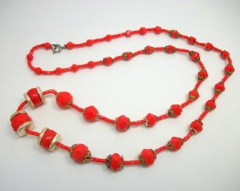 Czech Glass Vivid RED Glass Beaded Necklace - Vintage 20s