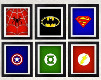 Superhero Art Printables // Superhero Decor // Boys Wall Art // Superhero Logos // Set of Six // Superhero Bedroom // Superhero Party Decor
