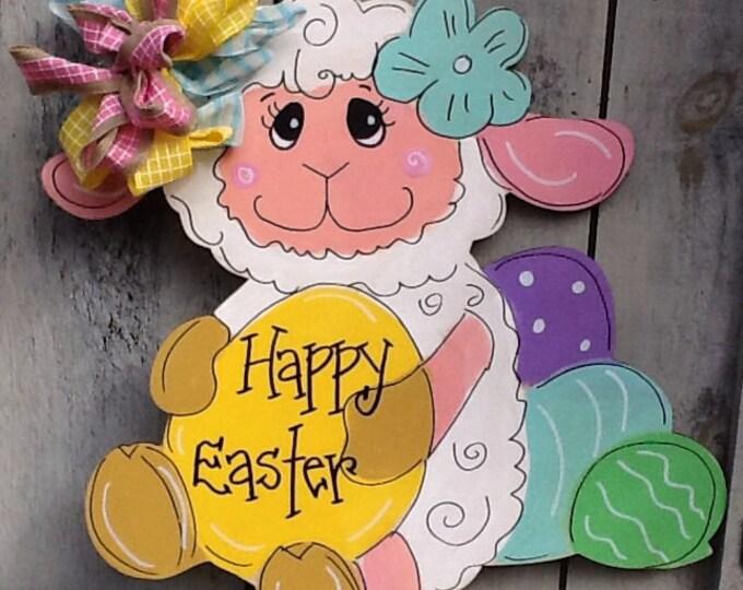 Easter lamb door hanger, easter door hanger, spring lamb door hanger , easter lamb sign, Easter sign, lamb door sign, Easter egg door sign