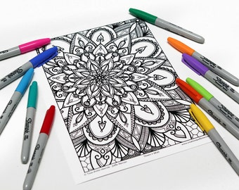 Mandala coloring, drawing #9840 printed on cardboard, relaxation coloring, flower