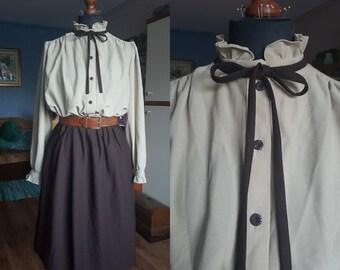 Vintage dress / Long sleeve dress / Elastic waist dress / Size L-XL / 80s