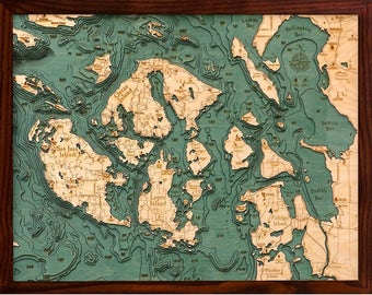 San Juan Islands Wood Carved Topographical Map