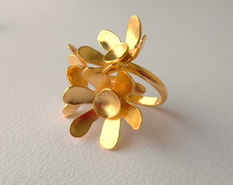 Flower Ring, Bouquet, Ring, Adjustable Ring, Flower, Gold Ring, Silver Ring, Gift For Her, Statement Ring, Statement Ring, Mother's day gift