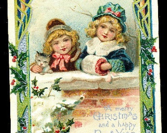 1908 Children New Years with Muffler Postcard