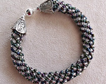 handmade Russian spiral bead woven bracelet