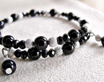 handmade black and silver memory wire bracelet, wrap around bracelet