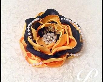 GIRLS YELLOW BOW girl hair flower corsage lapel pin