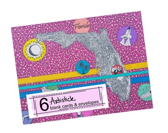 Florida Note Cards, Set of 6, Blank Greeting Cards, Tourist Souvenir, Travel, State Map, Geography, Hot Pink, Tropical, Floridian Gift