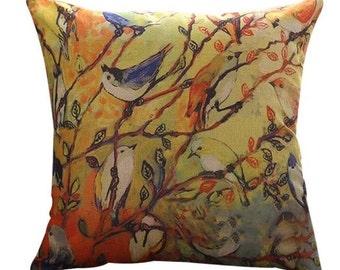 Colorful Birds Perching in a Tree - Pillow Cover