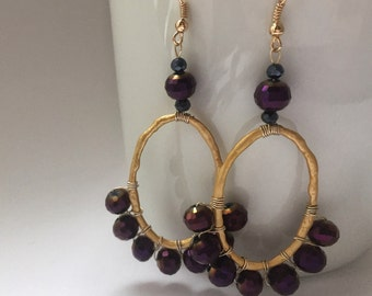 Long earrings with purple Crystal