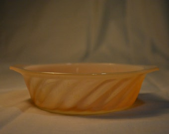 Anchor Hocking Fire King Peach Opalescent Mini Casserole Dish * Fire King Oven Ware * Swirly Dish with Double Handles * Oven Ware * Opal