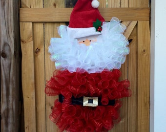 Deco Mesh Santa Wreath, Santa Claus Christmas Wreath, Santa Claus wreath, Holiday Decor, Christmas Decor, Santa Decoration