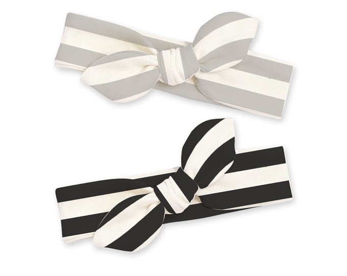 Newborn Headband Bow, Baby Girl Headband, Newborn Baby Headwrap, Baby Girl Bow Headband, Headband Black Gray Stripe Tesababe