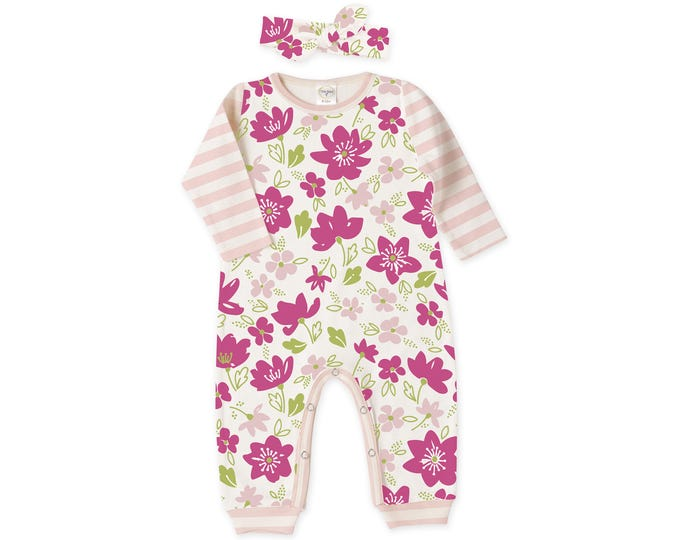 Baby Girl Outfit, Newborn Girl Romper, Baby Summer Outfit, Baby Girl Floral Romper, Pink Floral Romper & Headband, Tesababe RH810FMPI0000