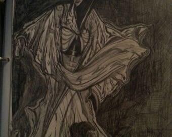 Black and White Grim Reaper Original Drawing in Pencil/Hooded Cloak