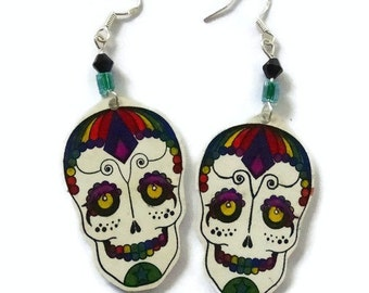 Sugar Skull Drop Earrings,Sterling Silver Fish Hooks,Sterling Silver Earwire,Hand Crafted,Day Of The Dead Earrings, Good For A Gift Or You15