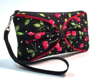 Retro Cherry Wristlet, Pinup Purse, Rockabilly Purse, Rockabilly Clutch, Edgy Handbag, Rocker Chic, Wristlet