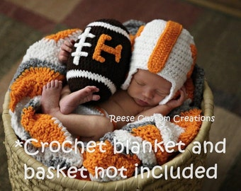 Crochet University of Tennessee Volunteers inspired colors Newborn Baby Boy Photo Prop Outfit- 3 Week Lead Time