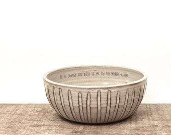 Gandhi quote handmade soup bowl. Poppy flower art. inspiration bowl. ceramic unique bowl. Poetry bowl.  IN STOCK