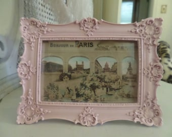 Gorgeous Ornate French Louis Barbola Carvings Picture Frame Antique Paris Post Card Shabby Chic