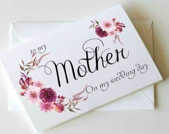 To my Mother card, mother of the bride card, mother of the bride gift, mother of the groom card, mother of the groom gift