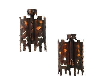 2 Mid Century Modern Brutalist Torch-Cut Metal/Copper Wall Sconces-Tom Greene(?)