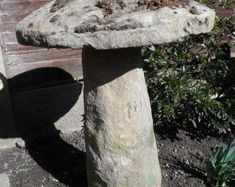 Original Circa 1800-1900 Large Staddle Stone Gorgeous Weathered Sandstone - Saddle Stone Steddle Stone Garden Mushroon