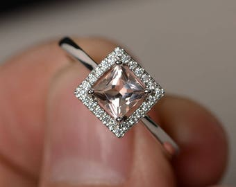 Princess Cut Engagement Ring Morganite Ring Silver Pink Gemstone Ring Promise Ring for Her