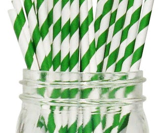 Big Pack 80 Bright Green Stripe Paper Drinking Straws - Wedding - Birthday - Celebration & Party Supplies