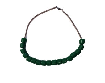 Green Glass Beaded Chain Collar Necklace