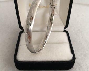 Chase Cut Bangle Bracelet Vintage Sterling Silver 925 Floral Diamond Cut Etchings Satin Finish
