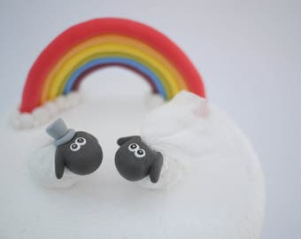 Bride and Groom Sheep Wedding Cake Topper (With or Without Rainbow)