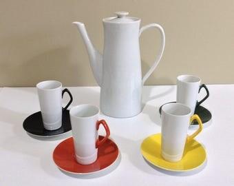 Mid Century Modern Ucagco Ceramics Tea Set / Coffee Set / 4 Cups, Saucers and Pitcher