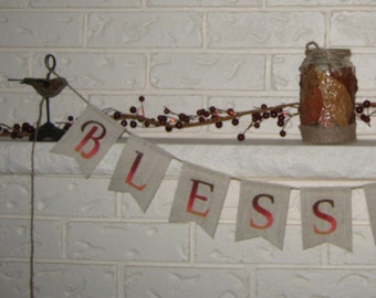 Burlap Blessings Banner - Rustic Thanksgiving Bunting- Autumn Home Decor - Thanksgiving Decoration - Fall Decoration - Hessian Garland