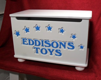 Personalized Toy Box, handmade toy chest, Toybox with Stars. Design 2