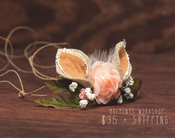 SALE! Woodland Bunny tieback - spring / easter photo prop - whimsical headband - premium quality