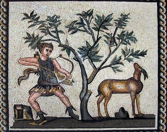 Mosaic Design of a Roman Hunting Scene
