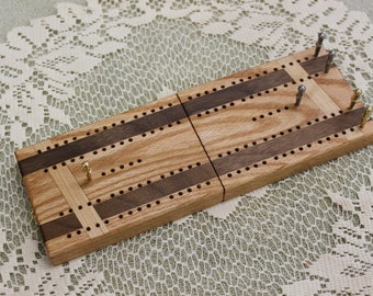 Folding Travel Cribbage Board with Wooden Inlays, Traditional Track