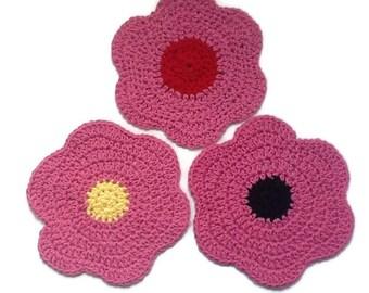 Crochet Dishcloths/ Set of 3 Pink Flower Handmade Dishcloths/ Pink Cotton Crochet Flower Washcloths/ Eco Spa Cloths/ Natural Fiber Cloths