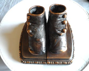 Vintage Bronzed Antique Baby Shoes Bookends* Home Decor . Heavyweight Bookends .