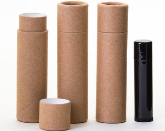 Eco Friendly Kraft  - 1 Ounce -  Lotion / Balm / Salve  -   Kraft Cardboard 100% Biodegradable Cosmetic Push Up Tubes  -  100 PACK