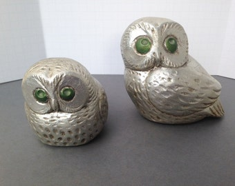 Vintage Pair Owls, Painted Ceramic, Silver Finish, Jaru of California