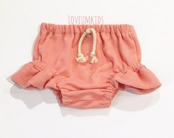 Boho Baby // Toddler Girls Peachy Pink Flutter Bloomers,  Shorties, Diaper Cover