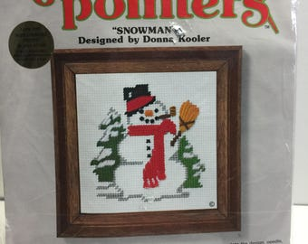 """Needlepoint Kit by Sunset Designs Needle Pointers """"Snowman""""  Christmas Needlepoint Kit Vintage 1970's, Needlework Picture, Gift Giving"""