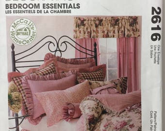 McCall's 2616 Home Decorating Bedroom Essentials Sewing Pattern Bedroom Decor, Quilt, Dust Ruffle, Pillows,Pillow Cases, Shams, Curtains