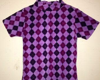 90s Clueless aesthetic purple Argyle crop top