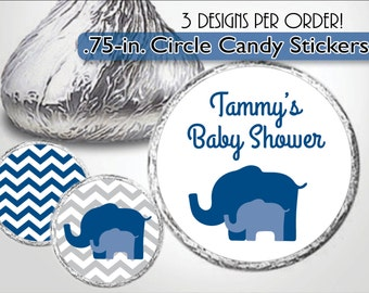 Navy Blue Elephant Kiss Labels, Gray Chevron, Candy Stickers, Little Peanut Boy Baby Shower, Baby Sprinkle, Birthday Favors, Personalized