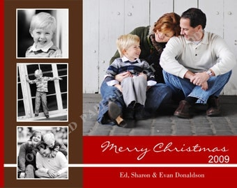 Photo Christmas Card- Photo Holiday Card- Personalized -Digital File or Printed Cards- One Sided
