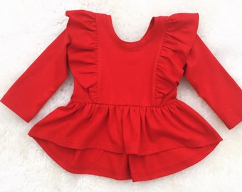 Hi low shoulder ruffle tunic,Easter hunting egg outfit,  baby knit ruffle tunic, toddler boho red tunic, newborn tunic, coming home outfit,
