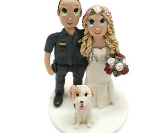 Custom Made Bride and Groom Wedding Cake Topper, Police Officer and Flower Crown